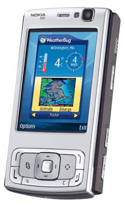 Nokia N95 с работающим виджетом 'WeatherBug'