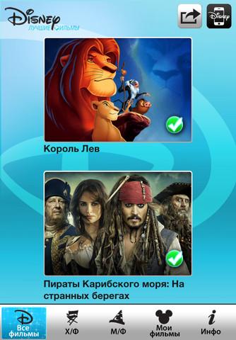мобильное приложение лучшие фильмы Disney для Ipad Iphone