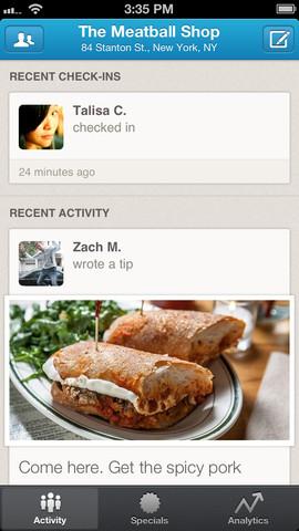 iPhone-приложение Foursquare для ресторанов и ритейлеров