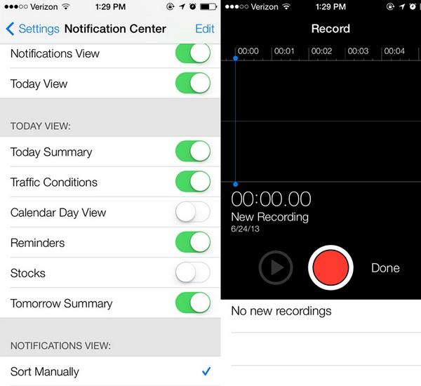 iOS 7 для iPad и iPad Mini; первые скриншоты; возвращение Голосовых заметок
