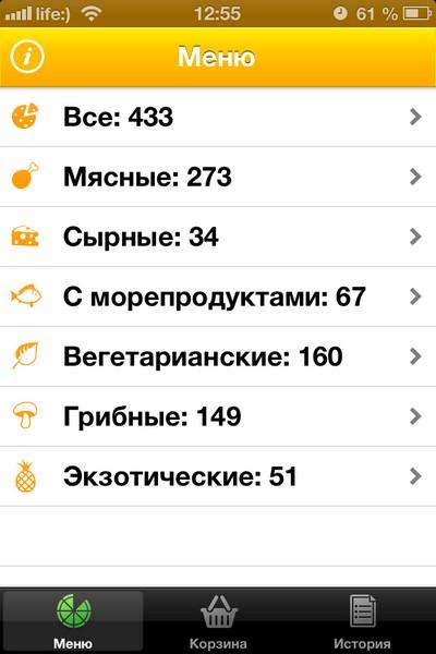 iPhone-приложение Pizza Kiev - заказ любой пиццы в Киеве всего за 3 тапа