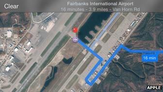 Карты Apple в iOS 7 вывели водителей на взлетно-посадочную полосу аэропорта на Аляске