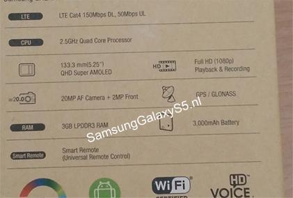 Samsung Galaxy S5: дата выхода и фото упаковки с характеристиками