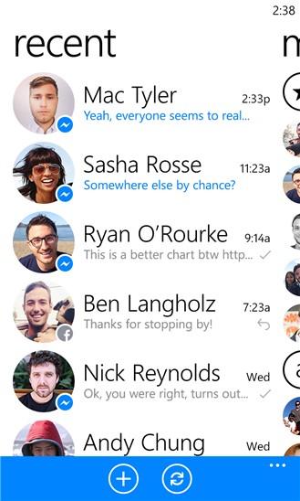 Faceebook Messenger для Windows Phone