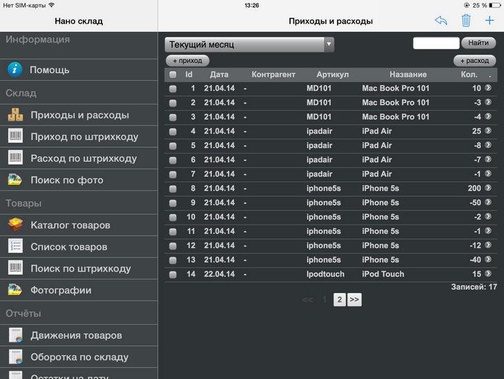 Обзор приложения Нано Склад: складской учет на iPhone и iPad