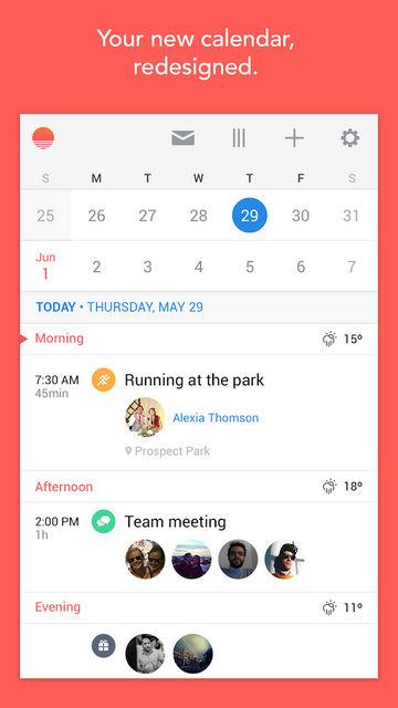 Календарь Sunrise для Android: менеджер свободного времени