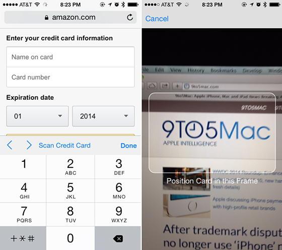 iOS 8 отсканирует банковскую карту для онлайн-покупок