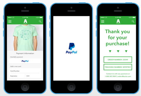 Оплата в приложениях через PayPal за один тап