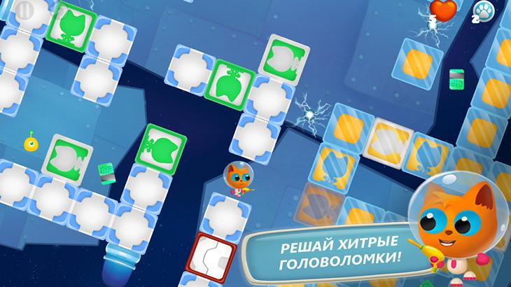 Головоломка Space Kitty Puzzle для Android: приключения космического кота