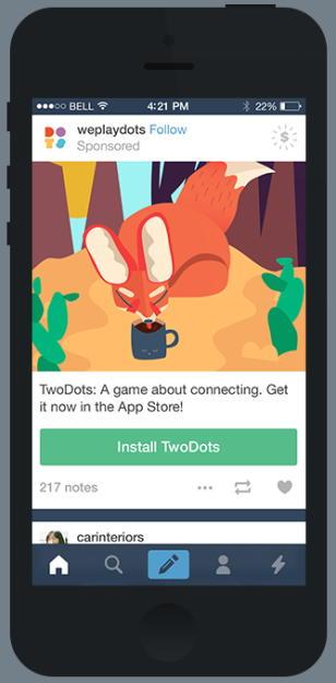 Tumblr запустил рекламу установки мобильных приложений