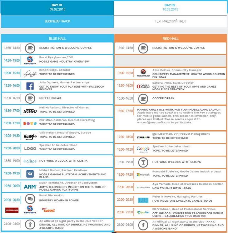 Программа конференции Winter Nights 2015, посвященной мобильным играм