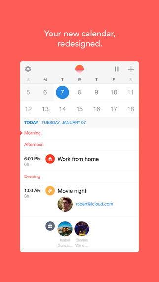 Приложение-календарь Sunrise для iPhone