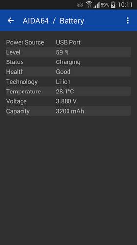 Скриншот бесплатного приложения AIDA64 на Андроид