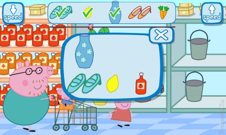 Детская игра Свинка Пеппа в супермаркете для Android