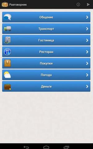 Скриншот русско-английского разговорника на Андроид