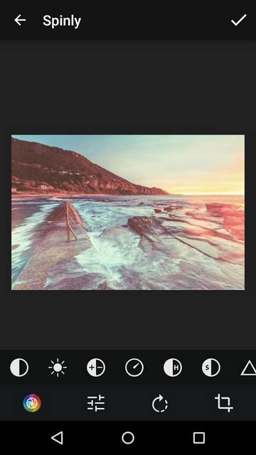 Основные настройки обработки фото в приложении Spinly для Android