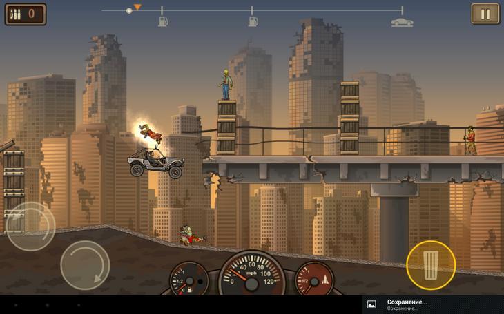 Гонка по первому уровню игры Earn to Die 2 для Андроид