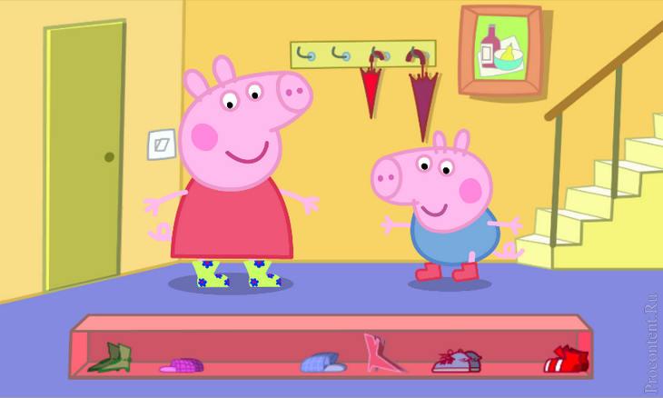 Игра Свинка Пеппа на Андроид - готовимся к прогулке, выбирая обувь
