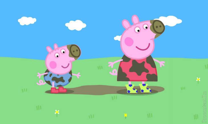 Свинка Пеппа и Джордж прыгают по лужам в детской игре на Андроид