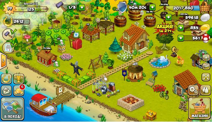 Многопользовательская игра Грибники и Кланы для iPhone и Андроид