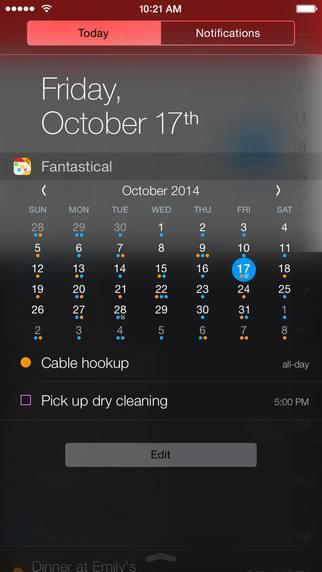 Виджет календаря Fantastical 2 для iOS