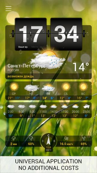 Виджет Погода+ для iPhone и iPad