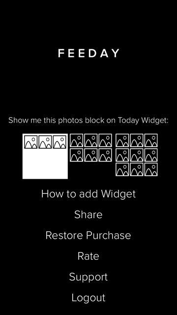 Приложение Feeday для экрана сегодня в iPhone и iPad с фотками из Instagram