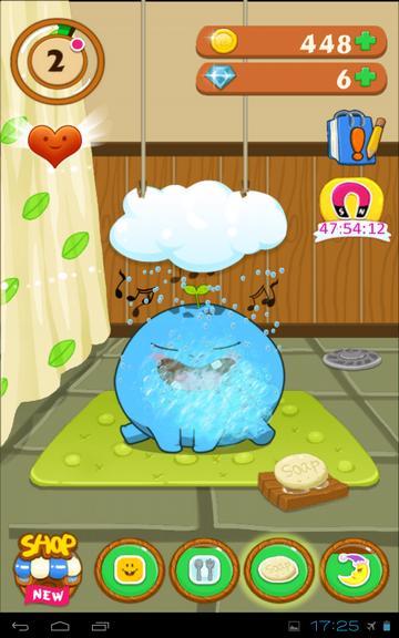 Мое домашнее животное на Андроид - тамагочи принимает душ