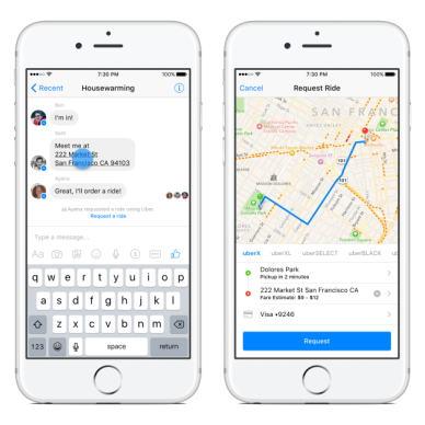 Заказ такси Uber в Facebook Messenger