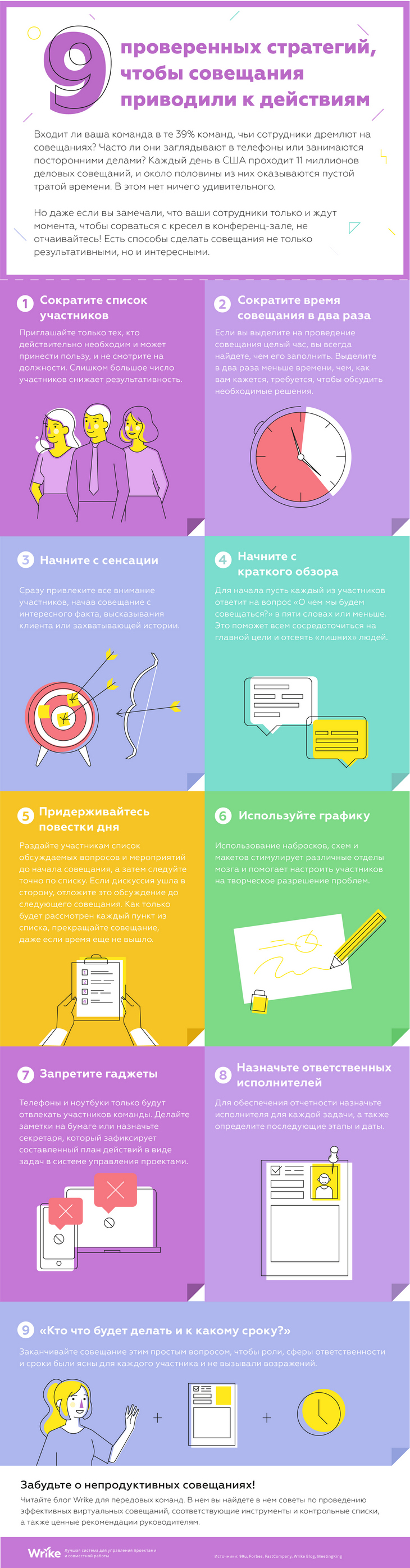 Девять проверенных стратегий для повышения продуктивности совещаний [ИНФОГРАФИКА]